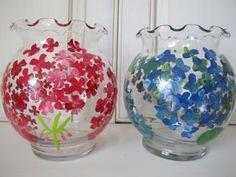 Petite hand painted vase, geranium, hydrangea