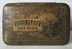 GOLD FLAKE ANTIQUE RARE TIN, GLOBE TOBACCO CO, DETROIT - WINDSOR, ELK IMAGE