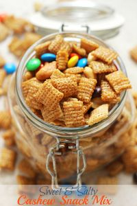 Sweet & Salty Cashew Chex Mix is the tastiest snack.  Perfect for an after school snack!
