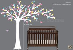 White Tree Owl Wall Decal Blowing Tree Decal Owl Nursery