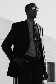"""From blackfashion:    """"Apparel: Brooks Brothers suit, Sunglasses: NYS Wayfarers, Tie: Claiborne, Belt: Kenneth Cole, Shirt: Ralph Lauren Polo.   Name: Adriel  Age: 19  Location: Houston TX  Submitted by: http://el-blog-de-adrizzy.tumblr.com/  Photgraphed by: Ling Wang Photography"""""""