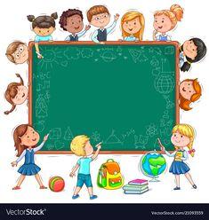 School board for your text funny kids and chalk Vector Image Display Boards For School, School Displays, School Border, Adobe Illustrator, School Frame, Background Powerpoint, School Humor, Funny School, Teacher Humor