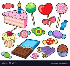 Illustration of Candy and cakes collection - vector illustration. vector art, clipart and stock vectors.