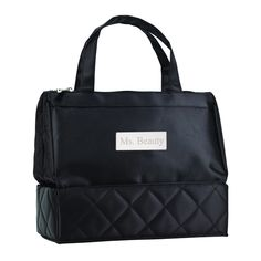 """Quilted Chic Cosmetic Travel Toiletry Bag Size: 10""""L x 8.5""""H x 5""""D This chic cosmetic toiletry bag includes dual zippered pockets. Made of quilted satin and fully lined with a water resistant material. The mesh zippered pocket at the bottom stores larger liquid bottles to help avoid spills. The clear pockets is for easy viewing."""