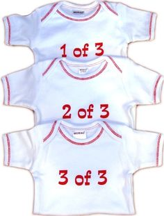1 of 3, 2 of 3, 3 of 3 Onesies featured by Just Multiples