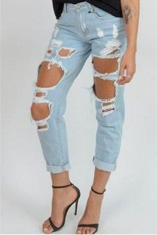 Boyfriend Jeans With Distressing in Marble Wash Blue 01448