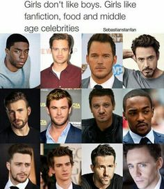 That's ok because I am middle-aged...And the only one here that's middle age is RDJ. The rest are young men.