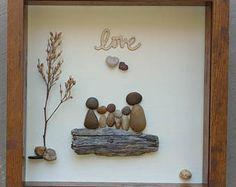Pebble Art, Rock Art, Pebble Art Family, Rock Art Family, Family of six, blended family, heart rock, 9x9x2 shadowbox (free shipping)