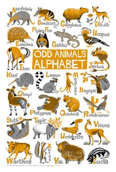 "Odd Animals Alphabet Poster. Limited edition digital print 13"" x 19"""