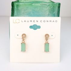 HP LC Lauren Conrad earrings LC Lauren Conrad mint green and gold earrings. Really pretty, I just don't have anything to go with them. LC Lauren Conrad Jewelry Earrings