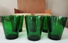 Vintage Vereco Glass France 6 Sm Glasses Mid Century Green 60's New In Orig Box