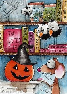 ACEO-Original-watercolor-painting-art-Halloween-shelf-pumpkin-mouse-crow-spider