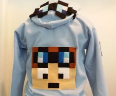 DanTDM zip up hoodie sweat shirt Plush Mine mining pixel Craft Character Character is handmade from fleece and felt.  Dantdm is on lower back Dantdm