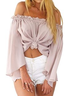 e860934dbdc Choies Women's Off Shoulder Flare Sleeve Knotted Front Chiffon Blouse Crop  Top at Amazon Women's Clothing