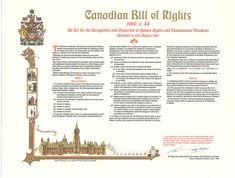 Image of a poster representing the content of the Canadian Bill of Rights. The legal text of the Bill of Rights is published as Canadian Bill of Rights S. c an Act for the Recognition and Protection of Human Rights and Fundamental Freedoms. Protection Of Human Rights, Bill Of Rights, Canadian History, Canada Day, S Signature, Parent Resources, Kids Learning, Homeschool, Freedom