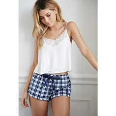 Forever 21 Plaid Flannel PJ Shorts ($5) ❤ liked on Polyvore