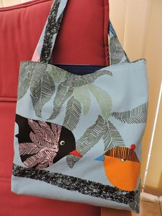 Handmade Turquoise Blue Birds Tote Shopping Bag £9.50