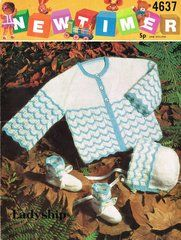 Newtimer 4637 baby matinee coat set vintage knitting pattern