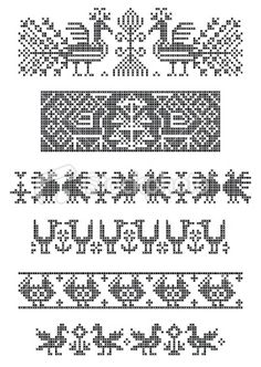 Illustration of set of borders, embroidery cross, birds vector art, clipart and stock vectors. Border Embroidery, Diy Embroidery, Cross Stitch Embroidery, Embroidery Patterns, Cross Stitch Borders, Cross Stitch Designs, Cross Stitching, Cross Stitch Patterns, Knitting Charts