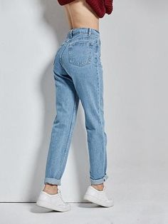Vintage High Waist Jeans - Women Jeans - Ideas of Women Jeans - Best Seller! Vintage High Waist Jeans – Women Jeans – Ideas of Women Jeans – Bes - Blazer Outfits Casual, Jeans Casual, Mom Jeans Outfit, Casual Summer Outfits, Jean Outfits, Jeans Style, Cute Outfits, Outfits With Mom Jeans, Grunge Outfits