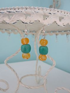Orange & Turquoise Earrings by playsculptlive, $25.00