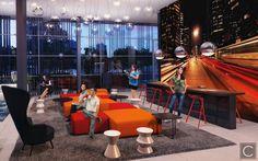 O conceito aqui é de integração total! O Mega Lounge unifica o Lobby ao Coworking e demais ambientes! Projeto VN Álvaro Rodrigues - Brooklin