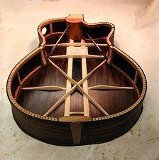 Interesting guitar back bracing by luthier Howard Klepper.