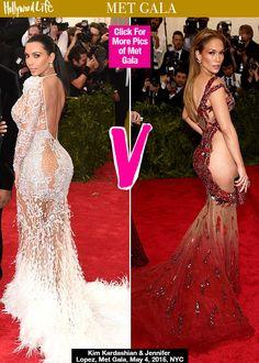 Kim Kardashian & Jennifer Lopez Flaunt Nearly Nude Butts At Met Gala