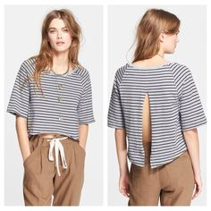 FINAL PRICEFree people striped open back shirt -open back -raw Seam detailing & a slouchy silhouette  -ribbed collar -hi lo hem -100% cotton -20 inches in length Free People Tops