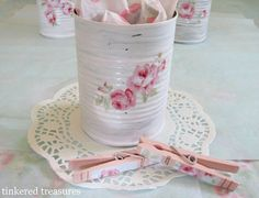 paint the can  and decoupage can and clothespins.... simple so don't buy. You can tell they used tissue paper to decoupage(same as in can) would be neat May Day gifts!