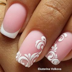 @pink and white deco nail art