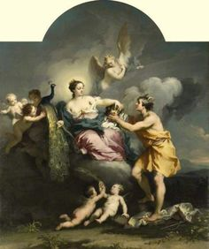 Juno La colocación de los ojos de Argo en la cola de un pavo real | Jacopo Amigoni (1682 - 1752, italiano)