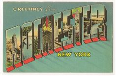 Greetings from... Rochester, New York vintage linen postcard from 1943