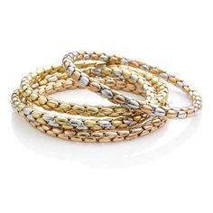 CHIMENTO Stretch Spring gold bracelets.