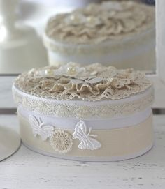 add some lace and pearls in lovely white-beige color combo