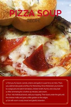 Food Beat co-founder Geoff Kutnick had the great idea of creating pizza soup. Here's how it was born. Pizza Soup, Great Recipes, Favorite Recipes, Cooking Hacks, Tomato Paste, Group Meals, Food Heaven, Slimming World, Baked Potato