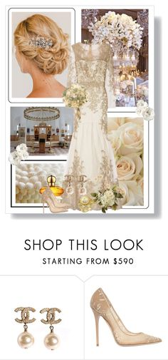 """Ivory Dream"" by dezaval ❤ liked on Polyvore featuring Spy Optic, Chopard, Jimmy Choo, chic, dress, wedding and Elegant"