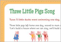 An original song about the Three Little Pigs, sang to the tune of Little Ducks went Swimming One Day'. This song was written by Clare Beynon. 3 Little Pigs Activities, Fairy Tale Activities, Toddler Learning Activities, Fun Songs, Songs To Sing, Kids Songs, Traditional Tales, Traditional Stories, Three Little Pigs Song