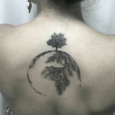 Awesome Black Ink Tree Of Life Tattoo On Girl Upper Back
