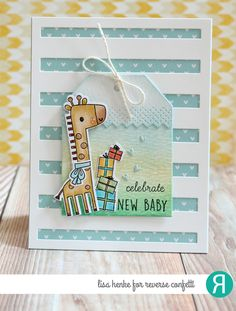 Card by Lisa Henke. Reverse Confetti stamp set: Lift Me Up and Whole Lotta Happy (sentiment) Confetti Cuts: Lift Me Up, Weather It (hearts), Big Stripes Cover Panel, Topped Off Tag, Top 'O the Tag. Baby card. Congratulations card. Giraffes.
