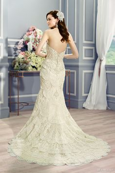 moonlight couture bridal fall 2016 h1288 strapless sweetheart vintage inspired layered skirt mermaid wedding dress back