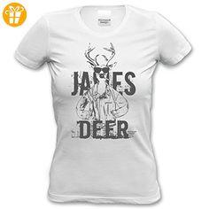 trendiges Fun T-Shirt Frauen Damen mit Aufdruck James Deer zur Wiesn Volksfest Bierzelt Oktoberfest Geschenk Geburtstag Farbe: weiss Gr: XXL (*Partner-Link)