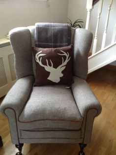 Harris Tweed Armchair With Stag Cushion From House Of Fraser