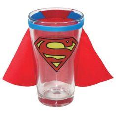 Superman Caped Logo Pint Glass - http://coolgadgetsmarket.com/superman-caped-logo-pint-glass-2/