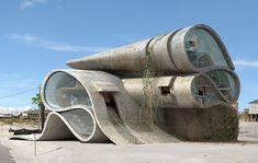 dionisio gonzalez imagines disaster resistant surrealist structures dauphin island II by dionisio gonzález: architecture for resistance ☮k☮ Unusual Buildings, Interesting Buildings, Amazing Buildings, Architecture Unique, Futuristic Architecture, Interior Architecture, Interior Design, Sustainable Architecture, Residential Architecture