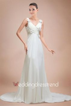 Cheap Sexy Draped Ruched A-line V-neck Chapel Train Empire Wedding Dress - Beautiful Cocktail Dresses Wholesale and retail Online