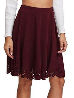 SheIn Womens Basic Stretchy Scallop Hem A Line Skirt Medium Burgundy >>>  You can