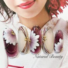 #冬 #お正月 #成人式 #ハンド #フラワー #和 #ミディアム #ホワイト #ボルドー #ジェルネイル #ネイルチップ #naturalbeauty #ネイルブック Red Nail Designs, Nail Designs Spring, Acrylic Nail Designs, Bling Nail Art, Rhinestone Nails, Vintage Nail Art, Olive Nails, Japanese Nail Art, Nail Patterns