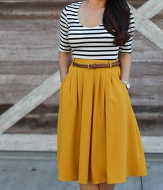 Cheer After Year 2017 Planner in Gold Dots, Breathtaking Tiger Lilies Midi Skirt in Mustard, Inside Scoop Top in Black & White, mustard pleated skirt, petite fashion, fall outfits, stripes - click the photo for outfit details!