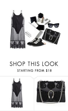 """#BlackElegant"" by leliuscris on Polyvore featuring moda, H&M y Gucci"